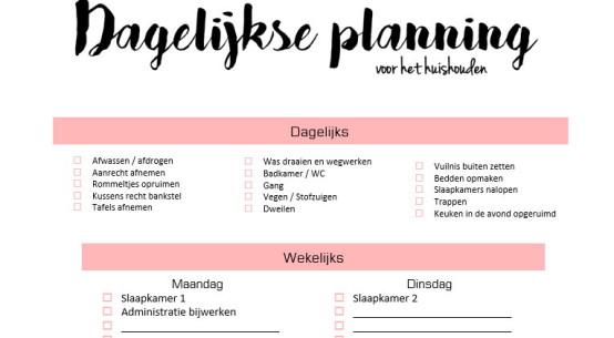planner, huishouden
