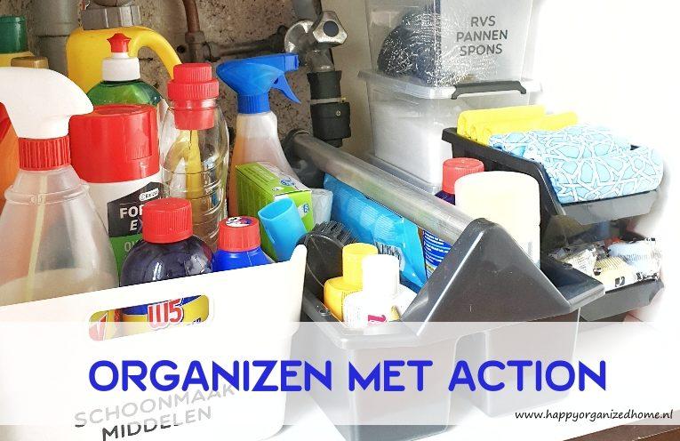 organized, schoonmaakspullen, gootsteen