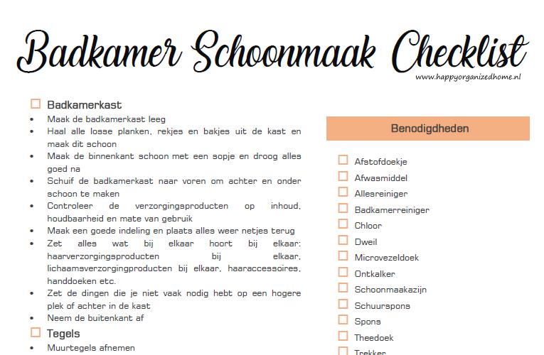 BADKAMER SCHOONMAAK CHECKLIST