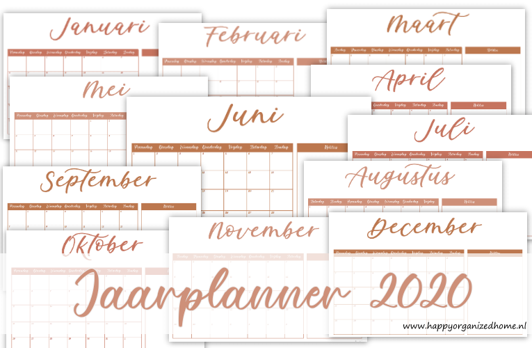 GRATIS DOWNLOAD: JAARPLANNER 2020