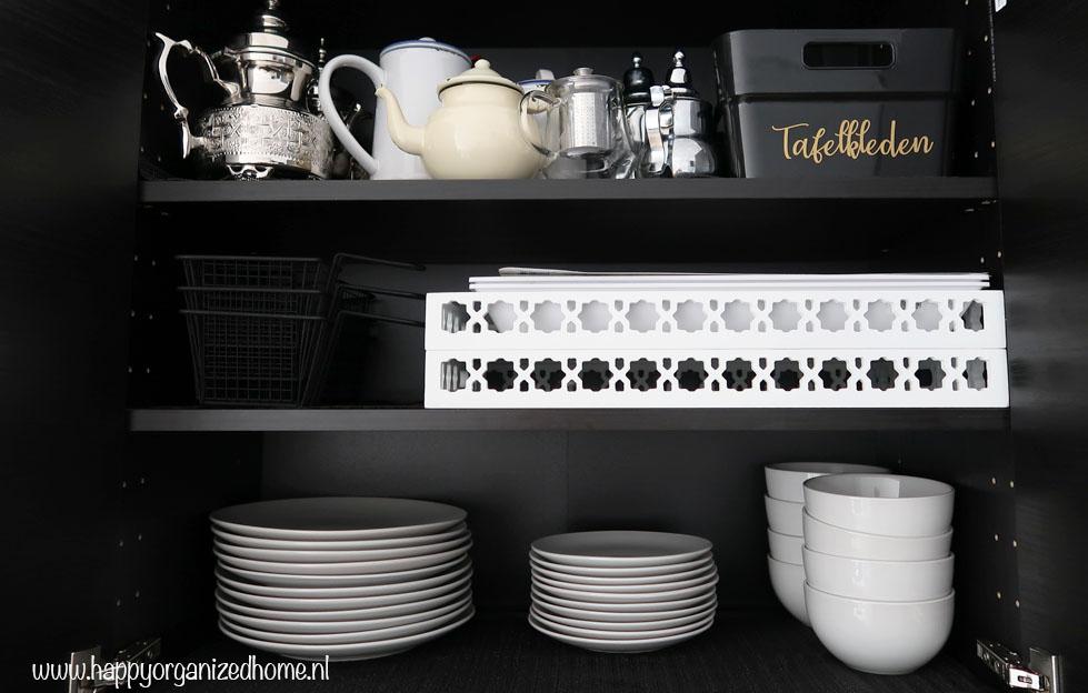 servies, keukenkastjes, organizen