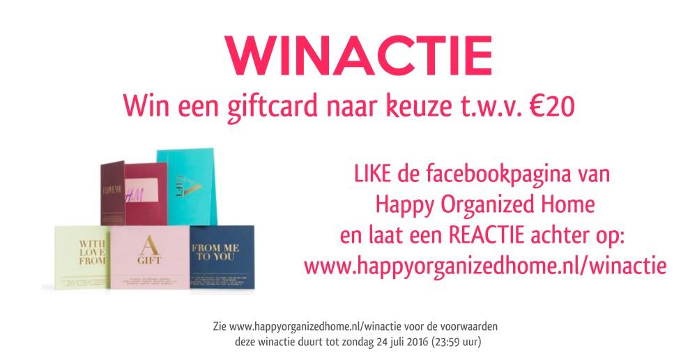 WINACTIE! WIN EEN GIFTCARD T.W.V. €20